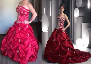 replica of red plus size wedding dress
