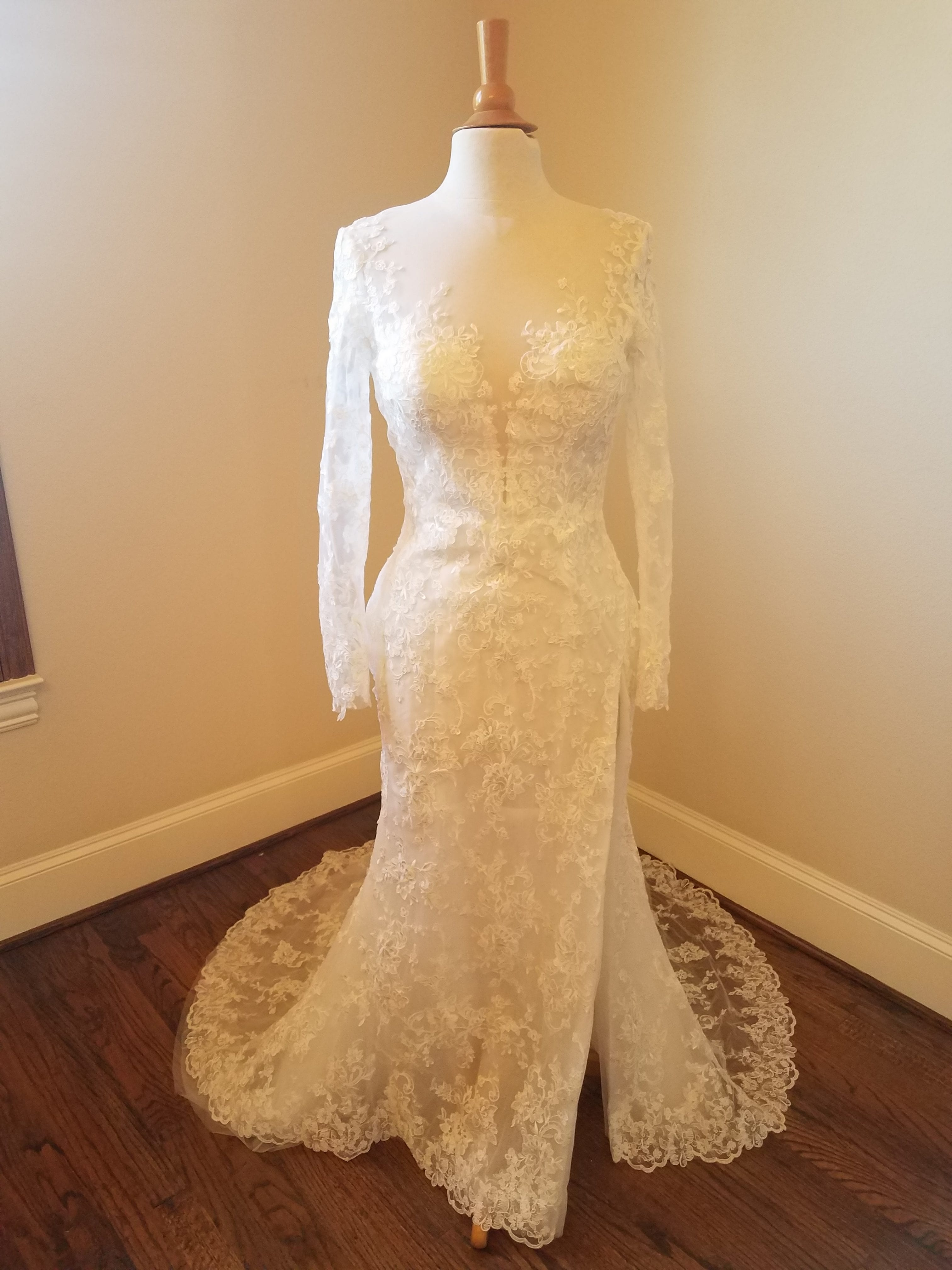 Illusion neckline long sleeve lace wedding dress by Darius