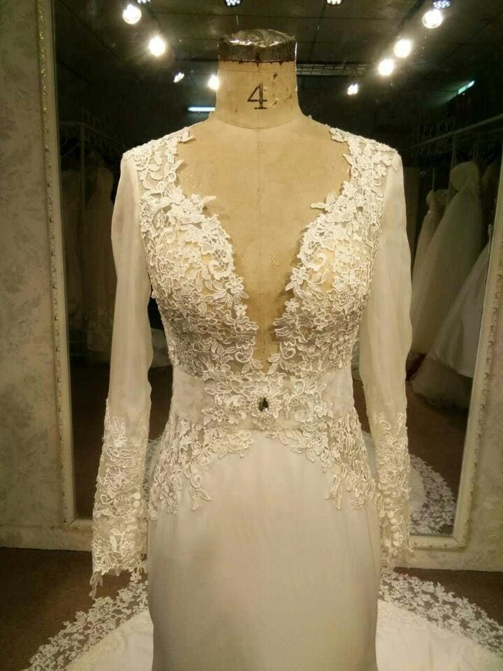Long Sleeve Lace Wedding Dress Inspired by Berta made by Darius
