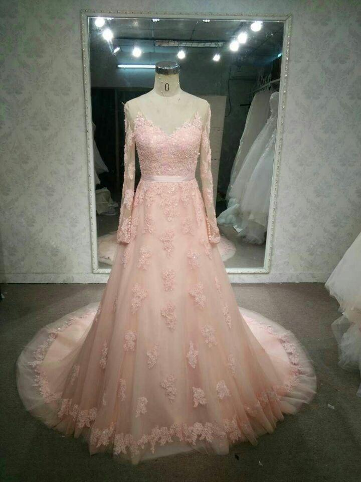 Long sleeve pastel pink wedding dresses by Darius