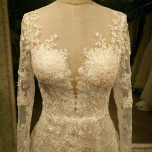Style #C2016Baird-0120 - Illusion neckline long sleeve lace wedding dress by Darius Cordell