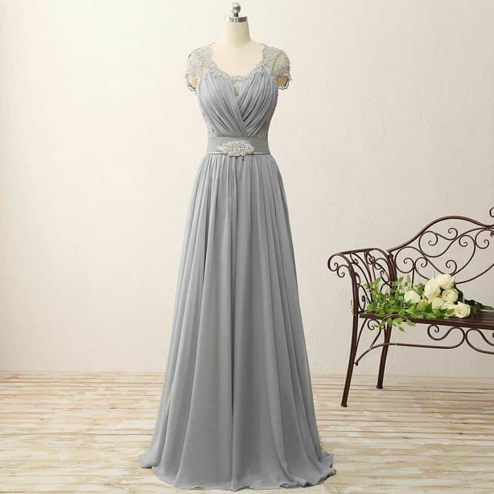 Silver grey mother of the groom evening wear by Darius