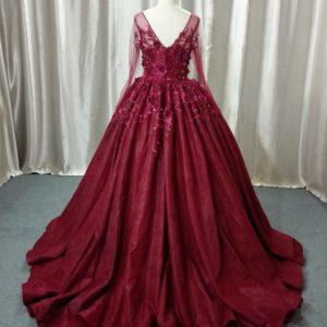 Style #ALS-036F - V-back ball gown with sheer sleeves by Darius Cordell