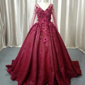 Style #ALS-036F - V-neck long sleeve ball gown by Darius Cordell