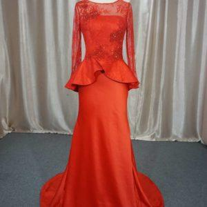 Style #ALS-065 - Red long sleeve mother of the bride evening gowns by Darius Cordell
