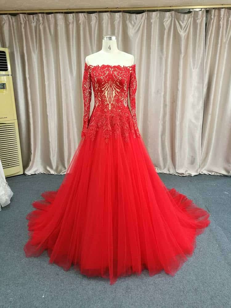 Red long sleeve off the shoulder ball gown by Darius