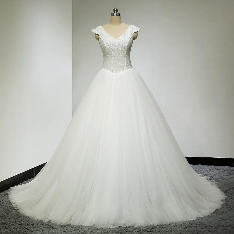 Beaded cap sleeve wedding gowns by Darius