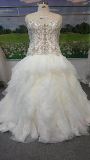 beaded plus size wedding gown with ruffled skirt by darius