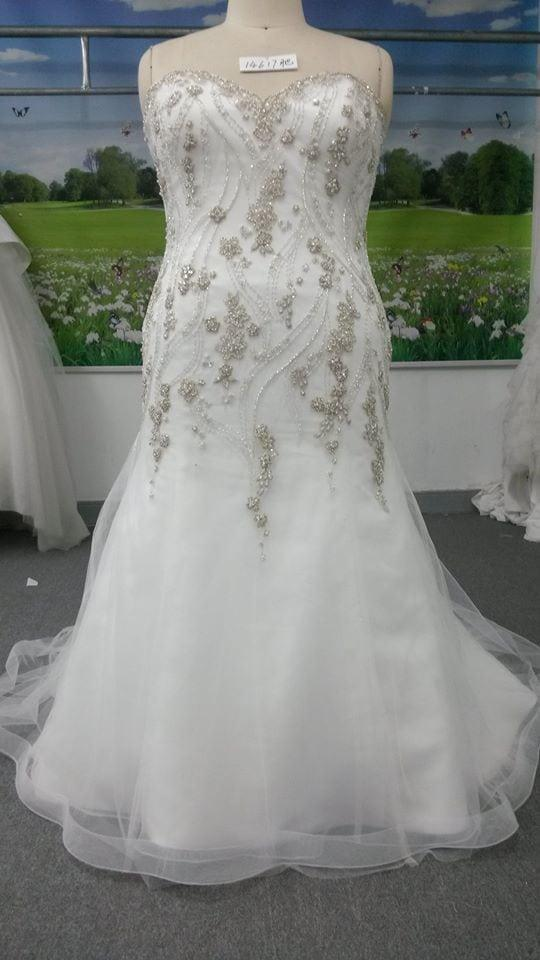 White plus size beaded wedding dress from darius bridal for Plus size beaded wedding dresses