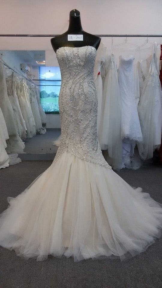 Strapless fit and flare wedding dresses with beading from for Wedding dress beading patterns