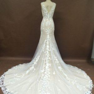 Style #051117SUn - v-back wedding gown with cathedral train from darius cordell