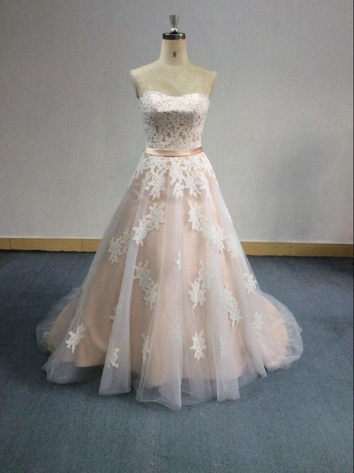 Trägerloses A-Linie-Stil erröten Hochzeitskleid von Darius Bridal