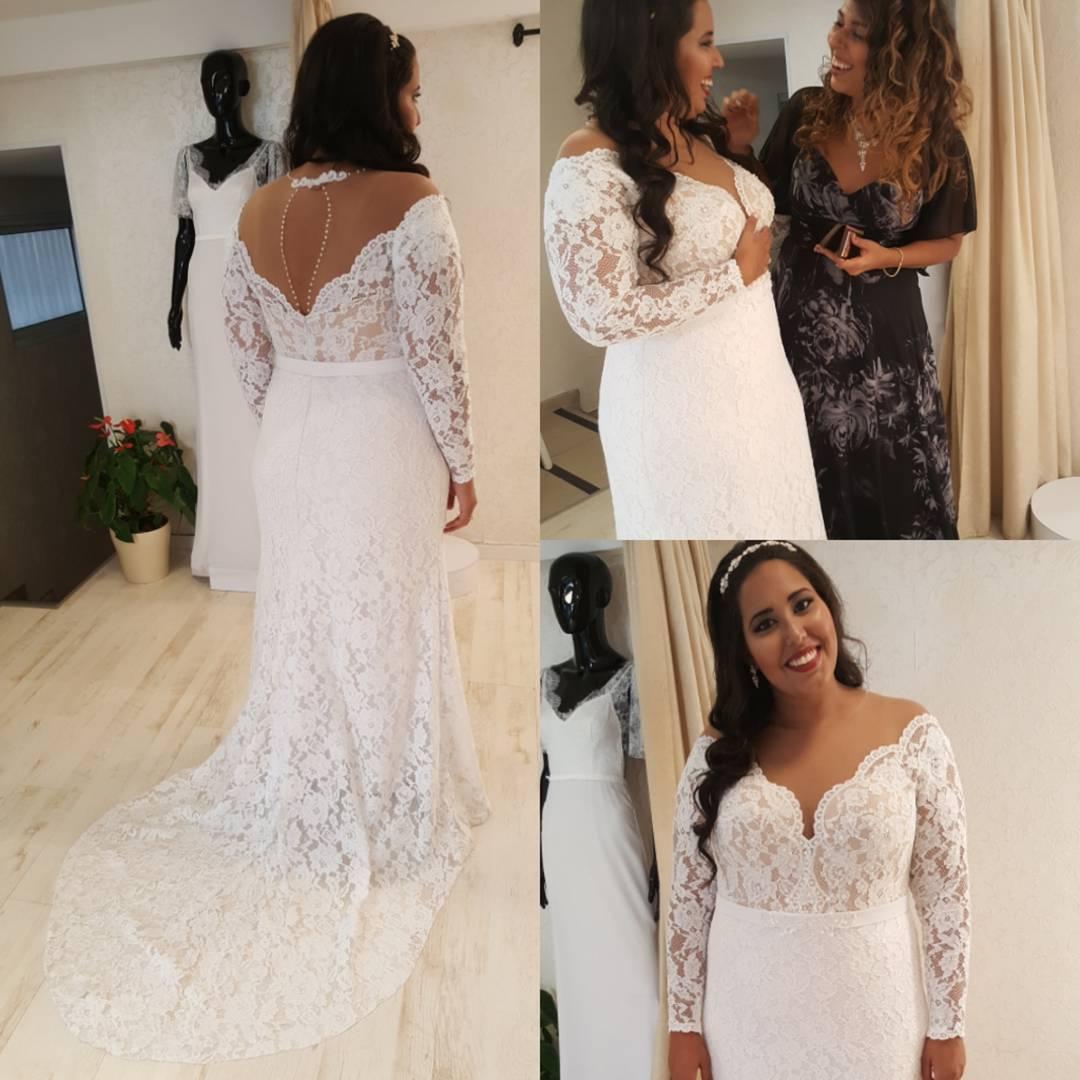 1c8e - long sleeve plus size lace wedding dresses ...