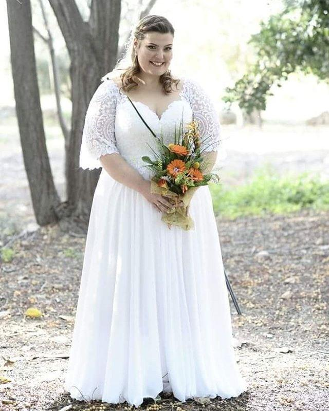 7920 Plus Size Bridal Dresses With Short Lace Sleeves