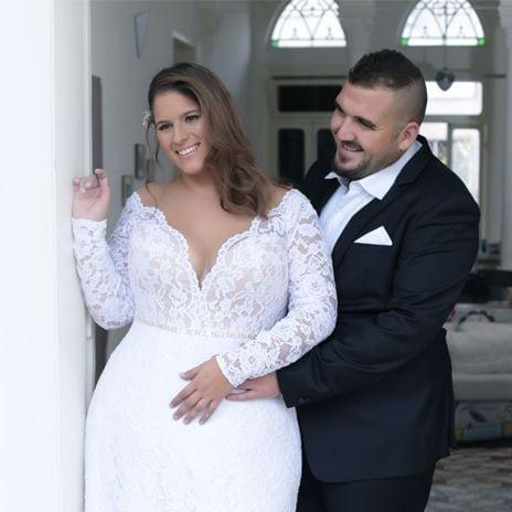 V Neck Plus Size Wedding Gown With Lace Sleeves