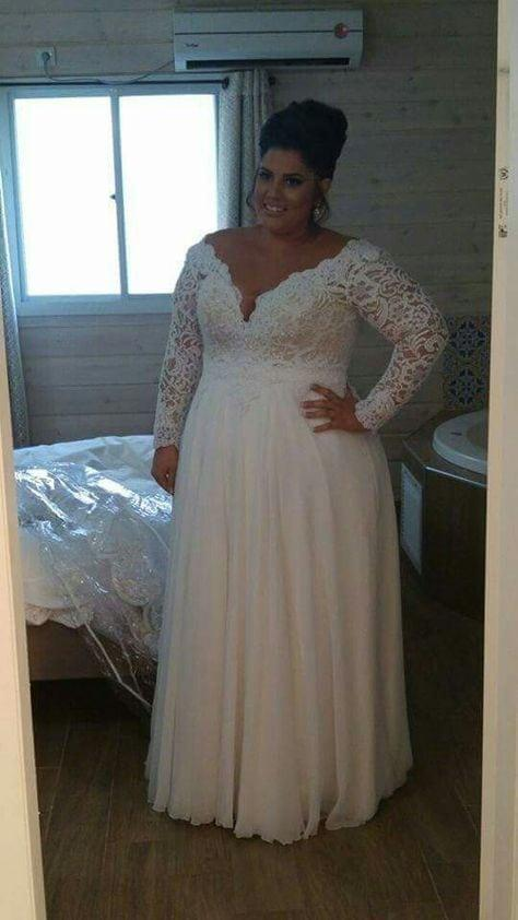 Unique plus size wedding dresses for the curvy bride from for Long sleeve plus size wedding dress