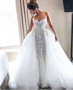 #1e049 - strapless embroidered wedding dress with tulle ball gown overskirt