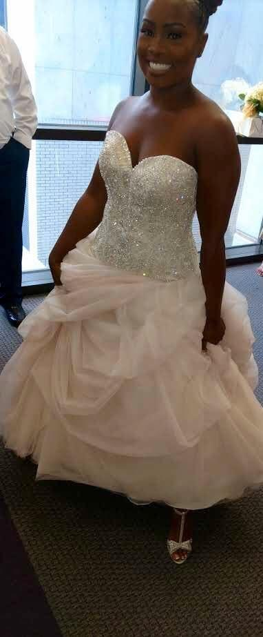 Plus size beaded drop waist wedding dress from The Darius Collection ...