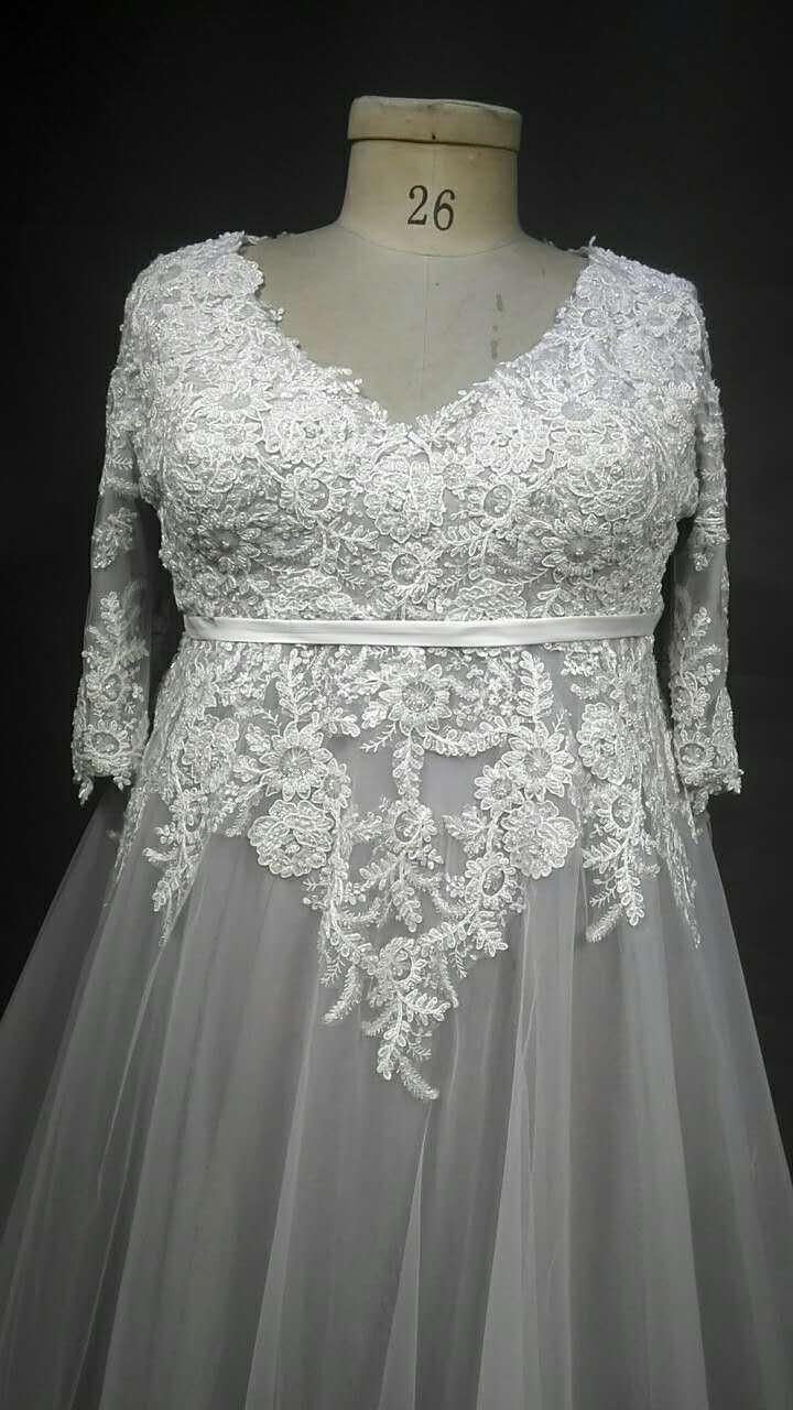 Three quarter length sleeve plus size wedding dresses for Wedding dresses with three quarter length sleeves