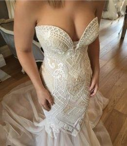 strapless wedding dress with intricate beading detail from Darius Bridal