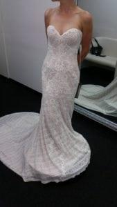 Beautiful strapless lace wedding gown from Darius Bridal