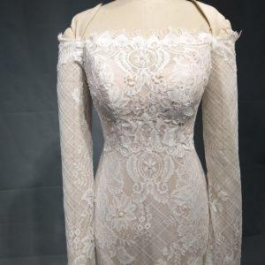 Elainne off the shoulder long sleeve lace wedding dress from darius Cordell