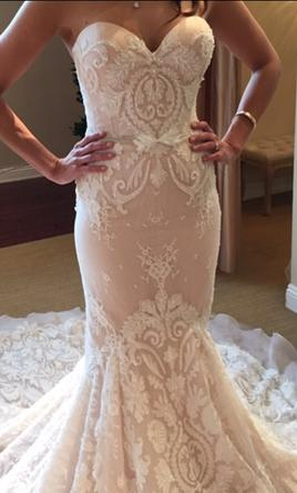 Pale pink wedding dresses with ivory embroidery from Darius Bridal