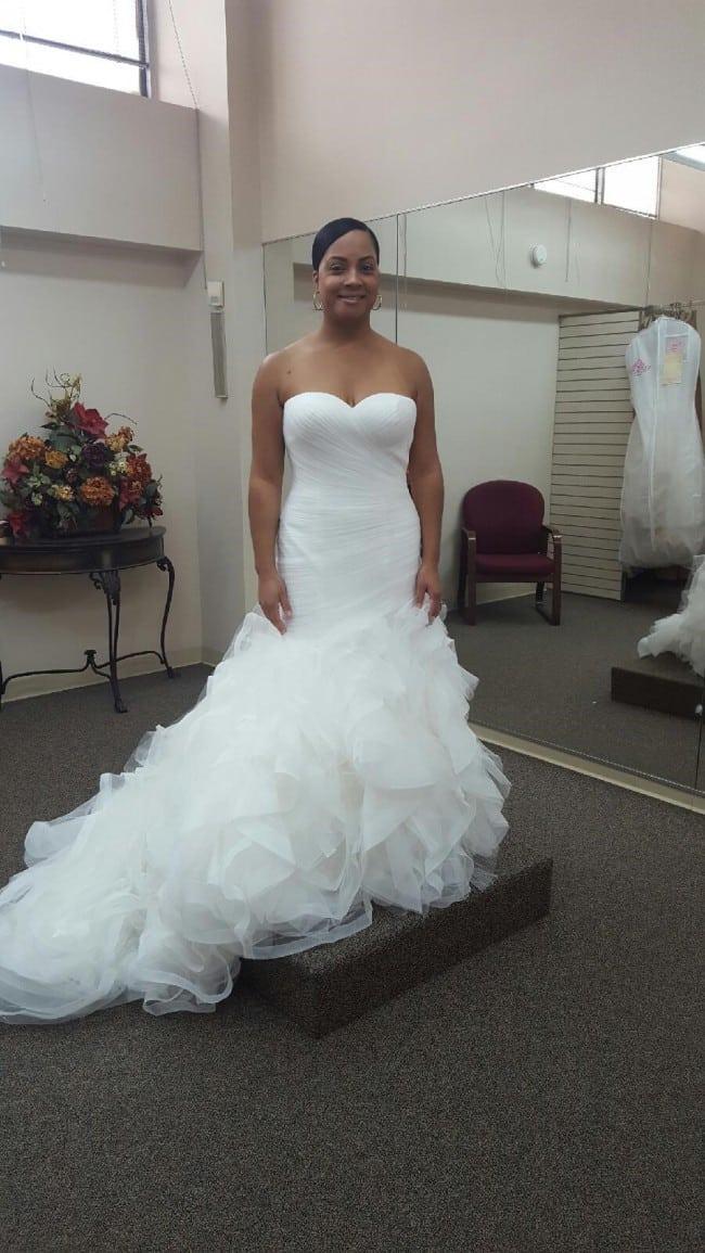 strapless fitn-flare white wedding dress from Darius Bridal