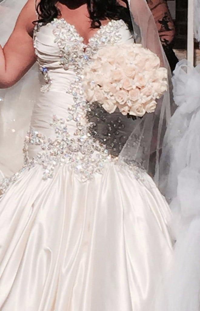 Rhinestone beaded plus size wedding dresses darius bridal for Plus size beaded wedding dresses