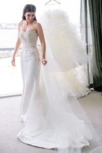 white strapless beaded wedding gown from Darius Collection