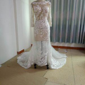 ST17809 Sexy Long sleeve lace wedding gown inspired by Berta Bridal