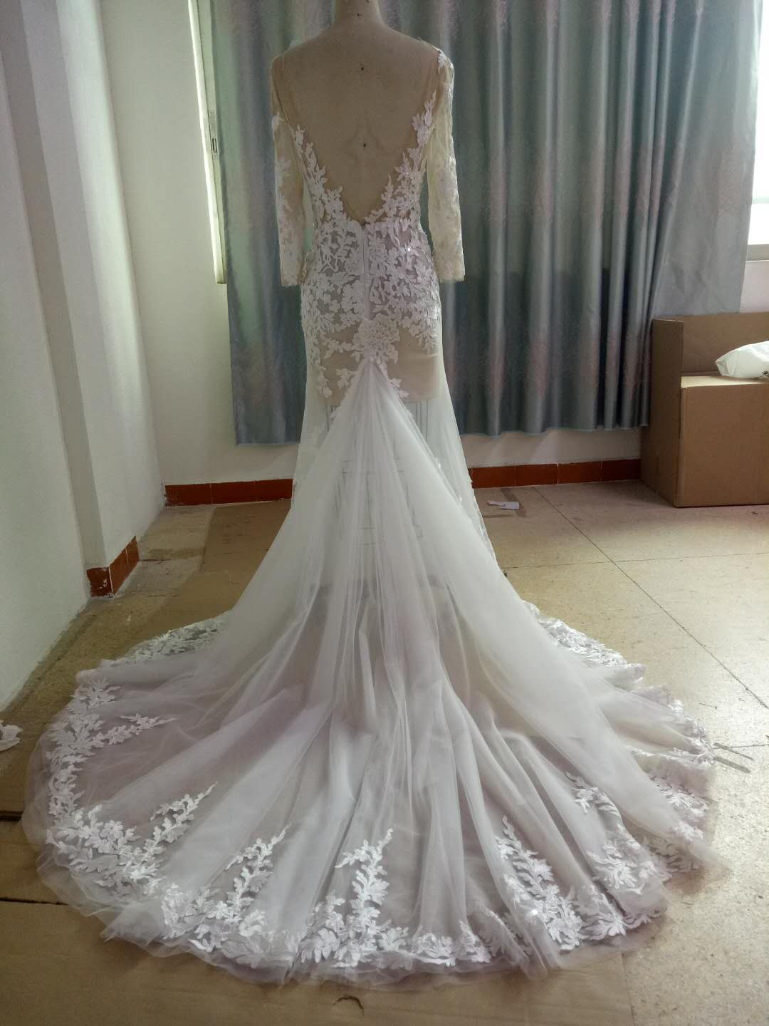 Sheer Lace Wedding Gown