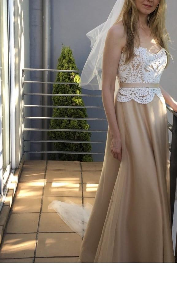 Strapless Champagne Colored Wedding Gown With Ivory Lace Darius Bridal