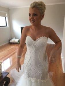 Strapless embroidered fit-and-flare wedding gown from Darius Bridal