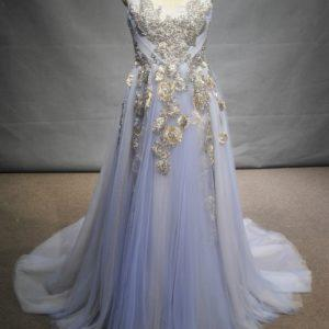 Style #C2017-Reiling - Strapless pastel blue colored a-line evening gown