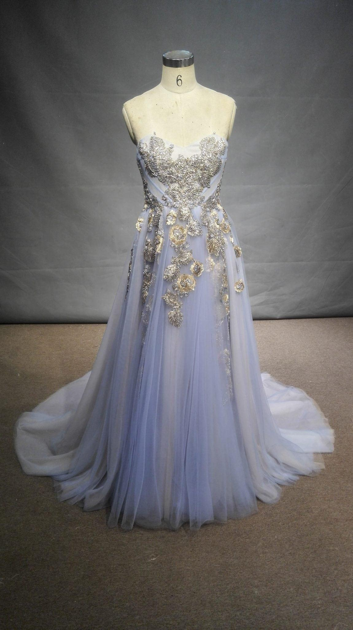 Strapless pastel blue colored a-line evening gown