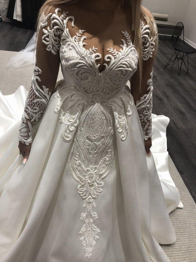 Plus size long sheer sleeve wedding dress with ball gown ...