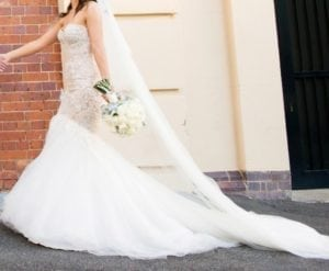 strapless fit-and-flare lace wedding gown from Darius Bridal