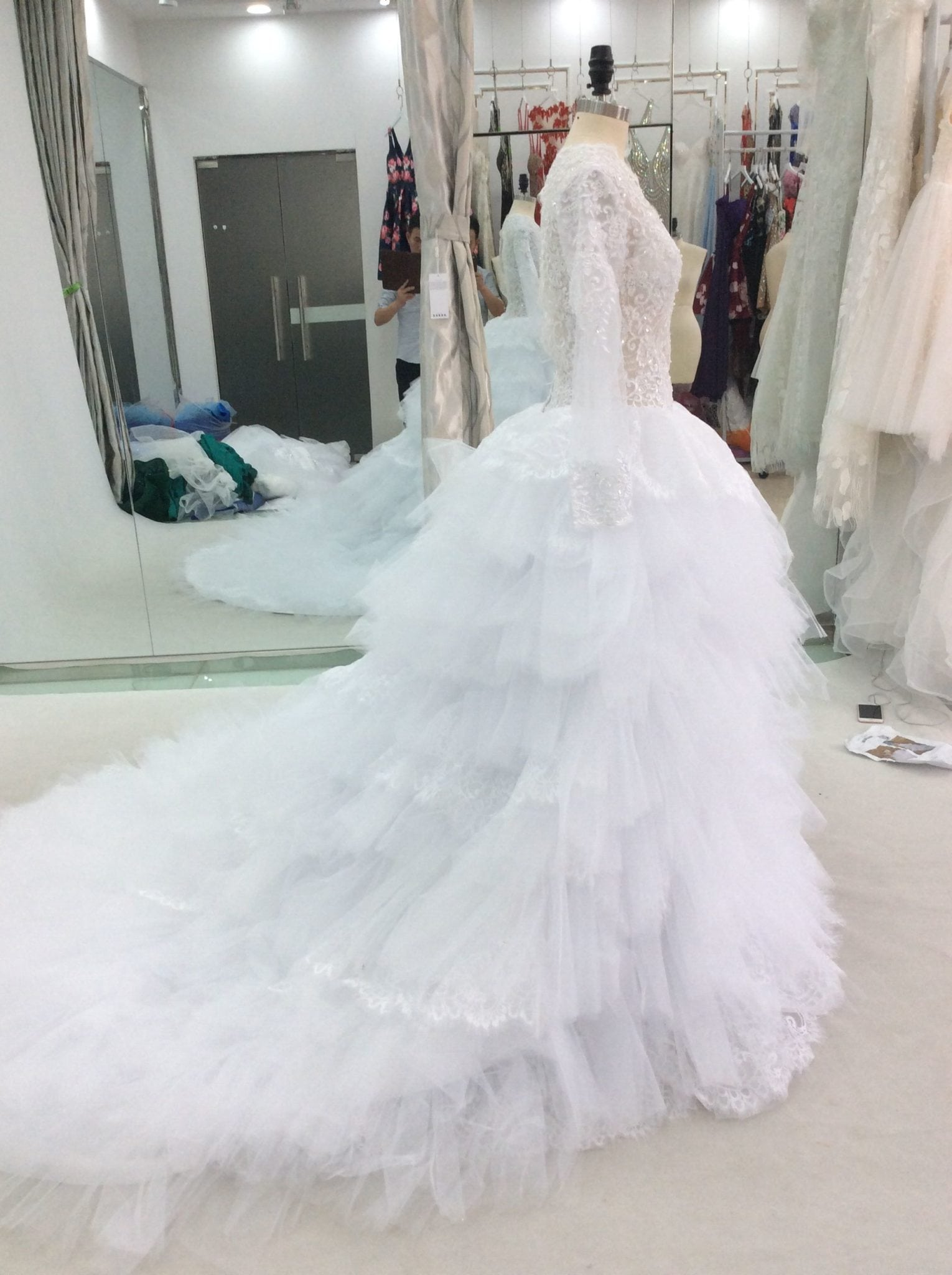 V-neck lace wedding dresses from Darius Cordell