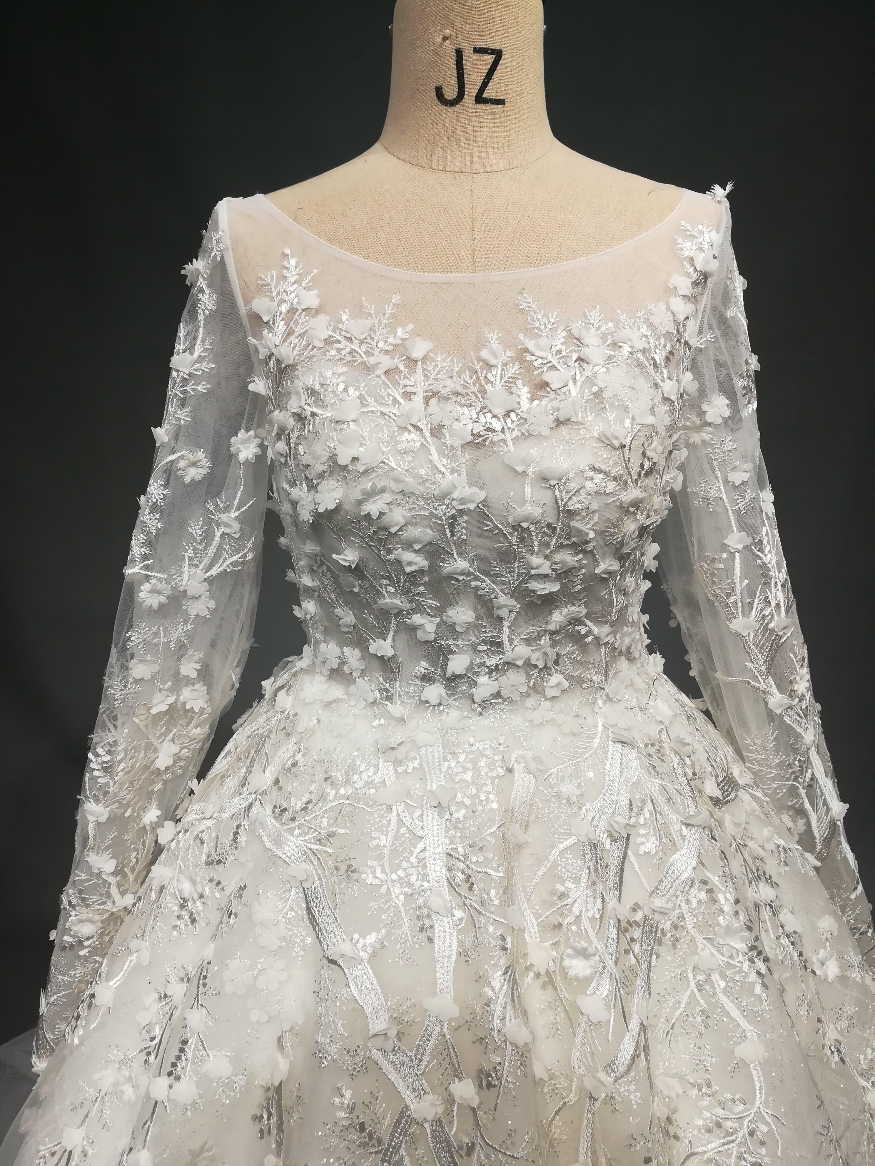 U-Ausschnitt mit langen Ärmeln plus Größe Hochzeitskleid von Darius ...