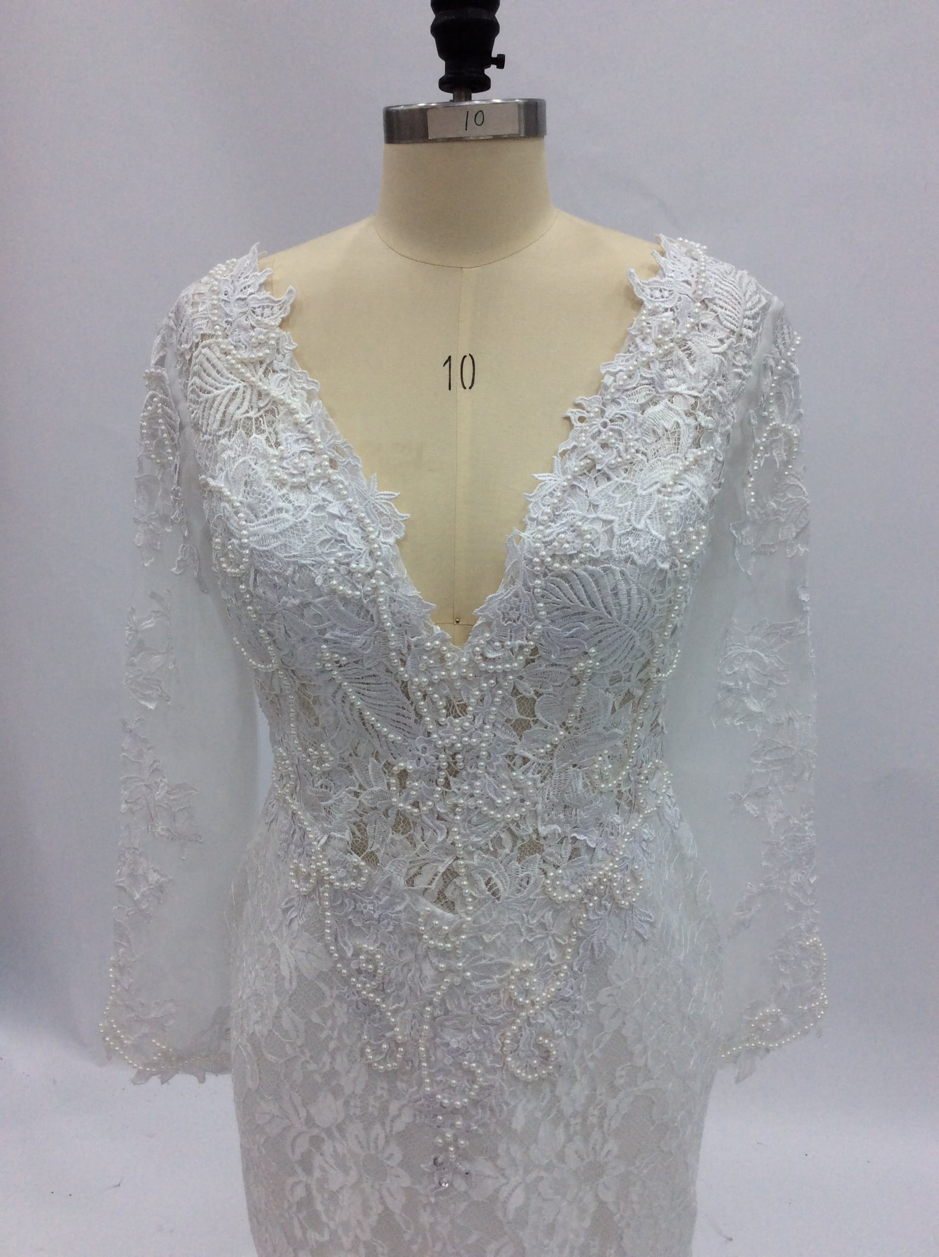 Pearl beaded lace wedding gown from Darius Cordell
