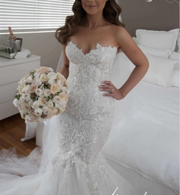Lace Fit And Flare Wedding Gown: Strapless Beaded Fit-n-flare Lace Wedding Gown