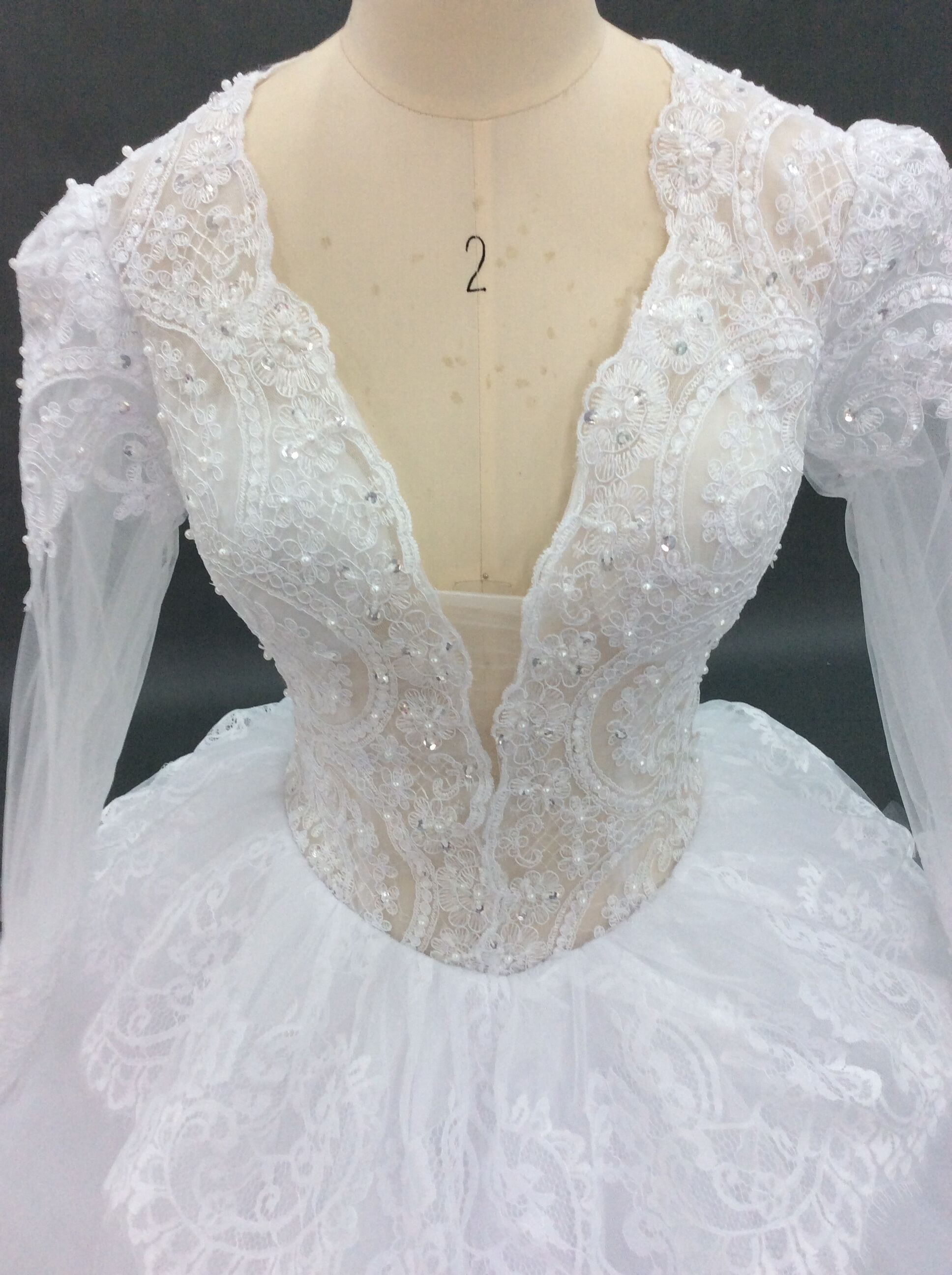 Custom long sleeve bridal gown inspired by Pnina Tornai