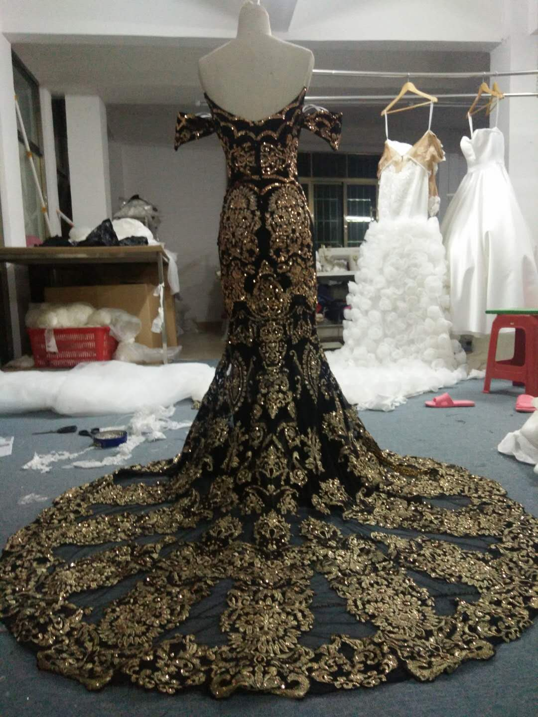 Gold and Black haute couture evening dress from Darius Customs