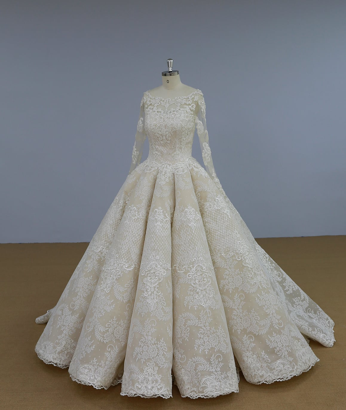 Long Sleeve Embroidered Ball Gown Wedding Dress From Darius Customs